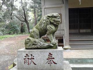 鷹取神社、猫背の狛犬