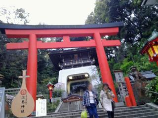 江島神社の赤い鳥居